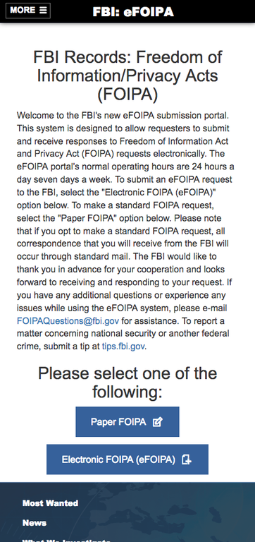 Screen shot of the efoia website mobile version