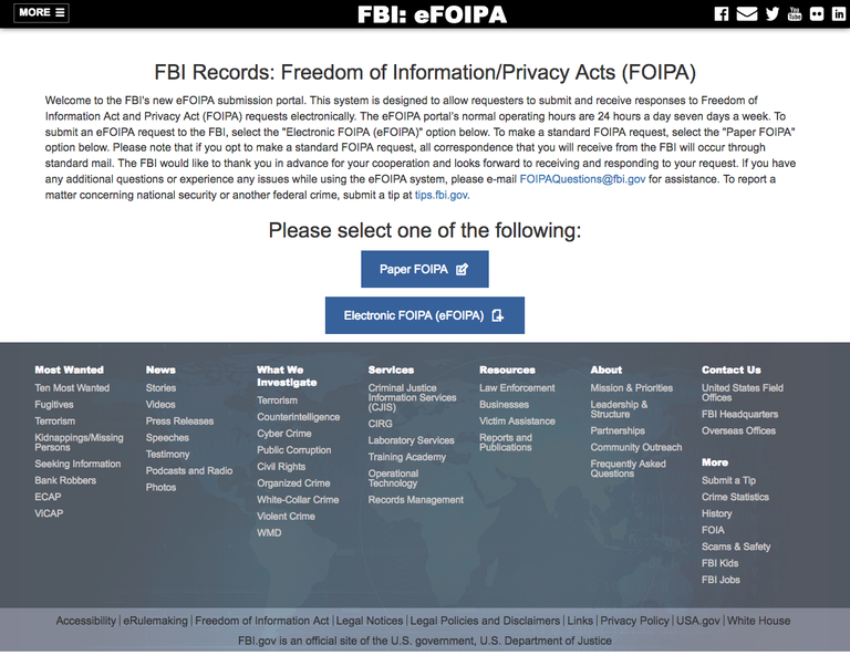Screen shot of the efoia website
