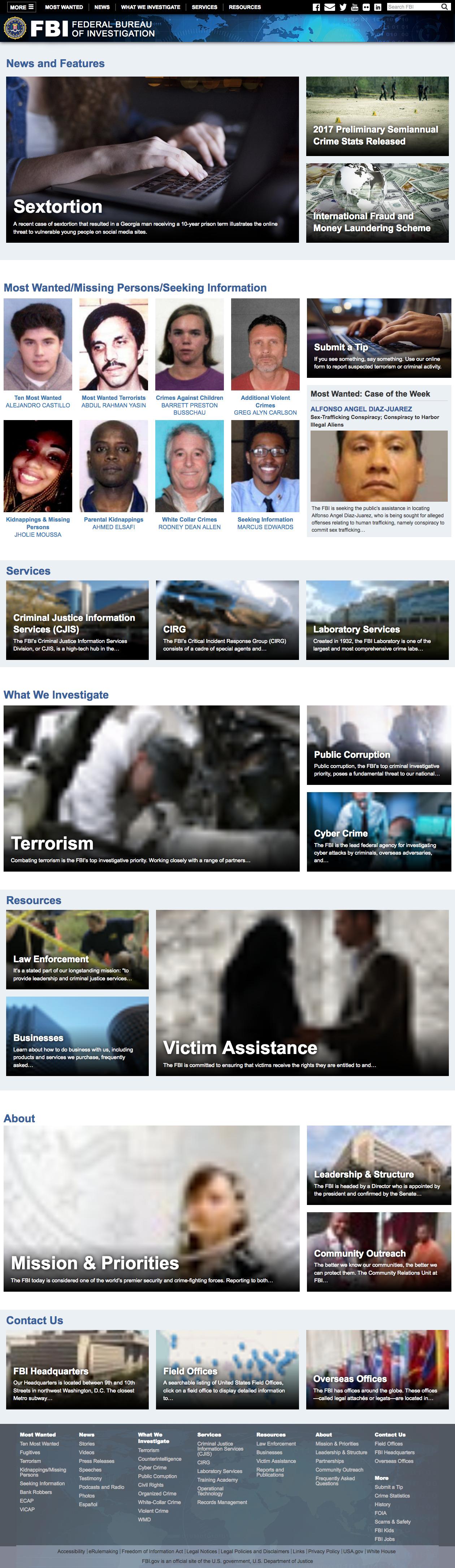 FBI Main Page