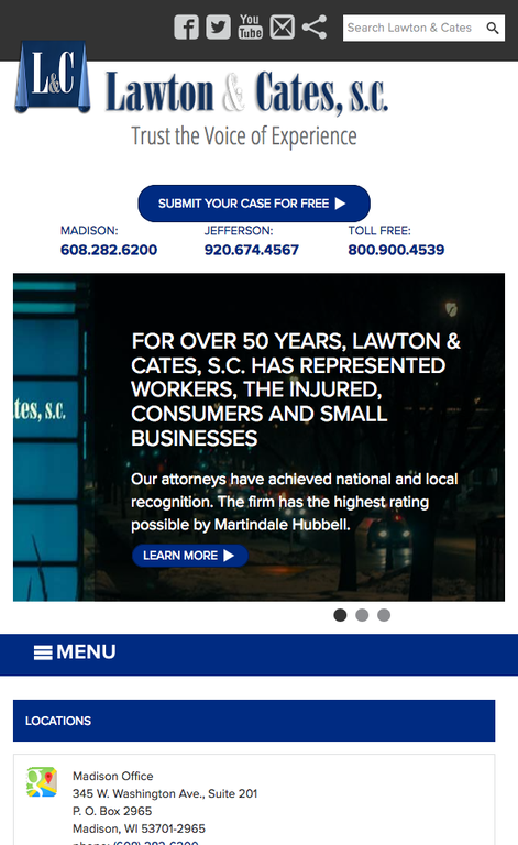 Screen shot of the lawton and cates mobile website